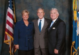 Pam Gentile and John Clark Sr. with President George W. Bush